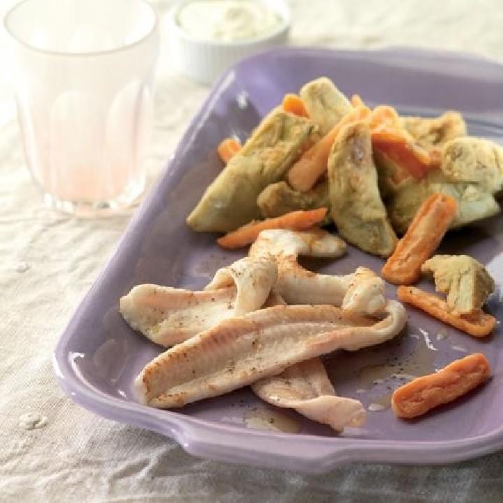 Llenguado a la planxa amb verduretes fregides
