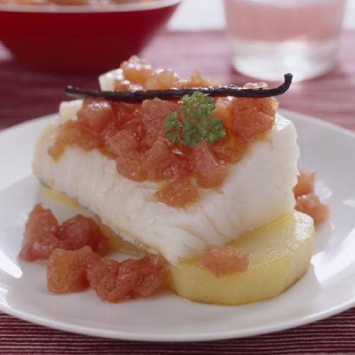 Morro de bacalao con confitura de tomate y vainilla