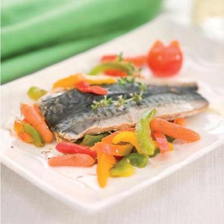 Verat al forn amb verduretes