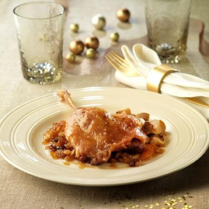 Confit d'ànec amb ceps i salsa agredolça