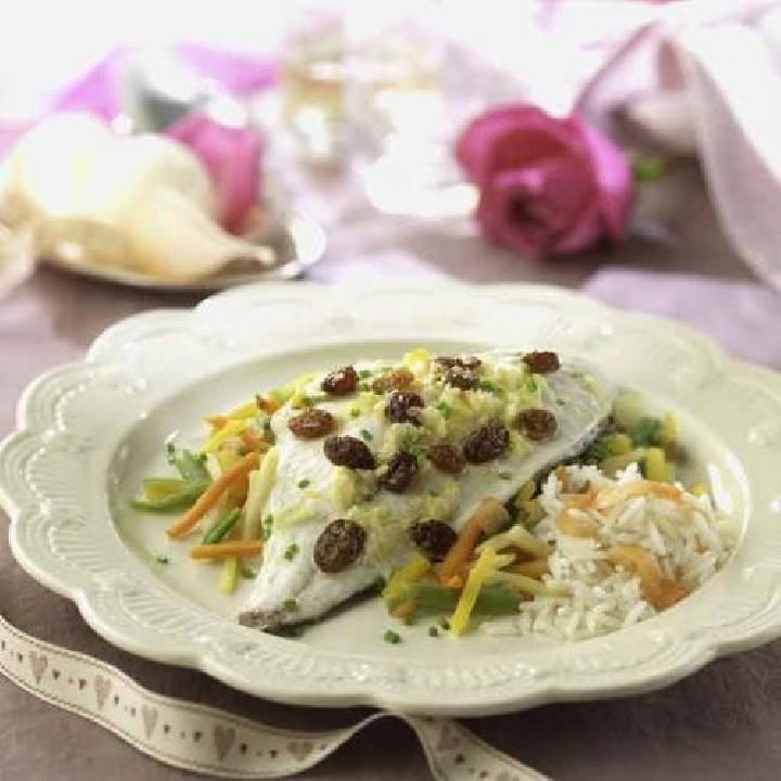 Papillote de lubina con salsa de jengibre y basmati ahumado