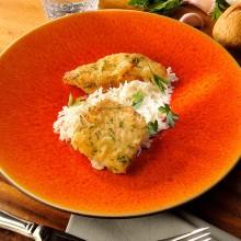 Filete de halibut a la milanesa con arroz basmati