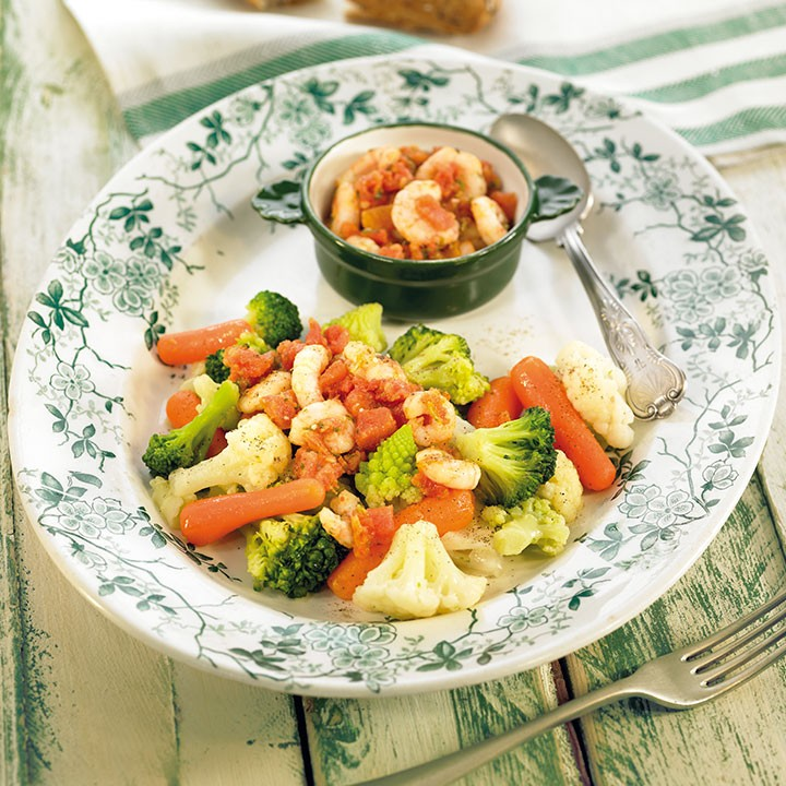 Verduras al vapor con camarones