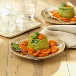 Pastelitos de espinacas y halibut con corona de zanahorias