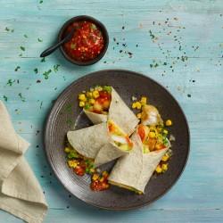 Taco de merluza con pico de gallo con mango y lechuga