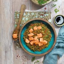 Quinoa amb saltat de verdures i salmó