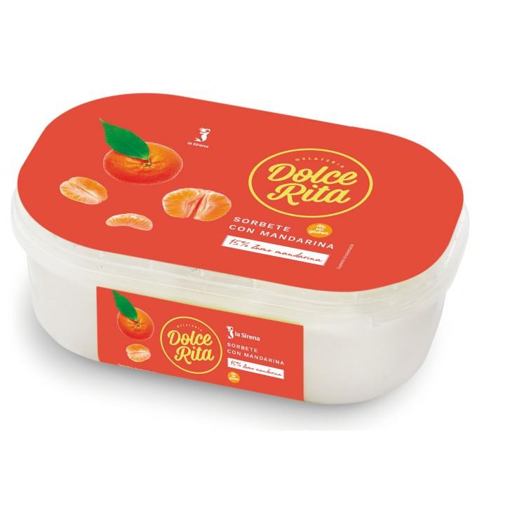 Tarrina helado sorbete de mandarina
